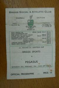1954 BRIGG SPORTS V PEGASUS PROGRAMME . AMATEUR CUP 4th ROUND