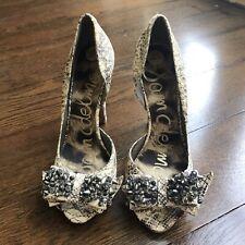 Sam Edelman Black Peep-toe Studded Rhinestone Bow Heels . Size  5 Brand New