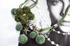 BOHO FESTIVAL GREEN POM POM KNIT STATEMENT BIB CHOKER LADIES SWEATER NECKLACE UK