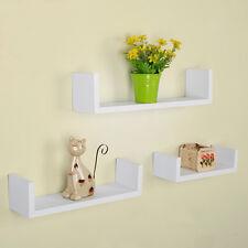 3 Pieces U Shape Wall Mount Fiberboard Shelf Storage Shelving Floating Shelves