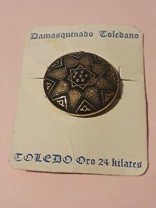 Damasquinado De Toledo Oro 24k Encrusted Brooch original card vintage