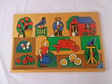 Vintage 1977 Ravensburger Wooden Childrem's PUZZLE  Garening Theme 10PC Pegs