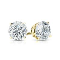 Diamond Stud Earrings Round Diamond Solitaire Earrings 14k Yellow Gold