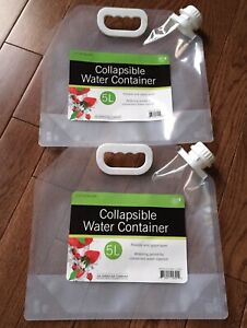 2 Collapsible Drinking Water Carriers 5L Quality Travel Bottles Camping BPA Free