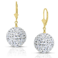 14k Yellow Gold 16mm Crystal Pave Accent Disco Ball Drop Leaverback Earrings