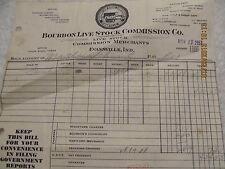 1951 Invoice Receipt Bourbon Live Stock Commission Co. Evansville IN Schnautz