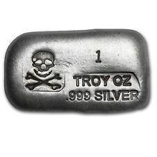 1 oz Silver Bar - Skull & Bones (PG&G) - SKU #77315