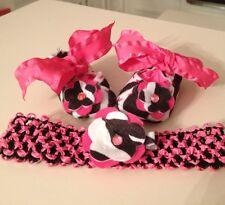 Hot Pink & Zebra Print Mary Jane Infant Shoes W Matching Flower & Headband