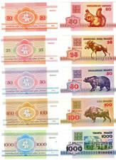 Belarus 50 Kopeken, 25, 50, 100 und 1000 Rubel 1992 unc