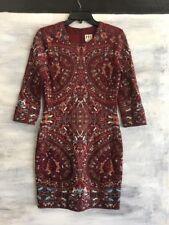 NEW HAUTE HIPPIE H5087100PT 3/4 Sleeve Embroidered Sheath Mini Dress, 4 - Merlot