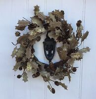 Rustic Christmas Door Wreath Hessian Holly Fabric Gold Gisela Graham Decoration