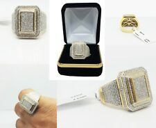 10 KT Yellow Gold Square Lollipop 0.99 CT Real Diamond, Men's Pinky Ring NEW!!