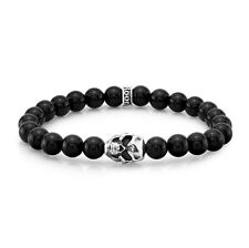 ROOM101  8MM AGATE  STRETCH  BRACELET WITH SILVER SKULL AND  LOGO
