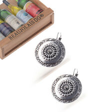 Bohemian Boho Round Ethnic Flower Carved Antique Silver Plated Women Earrings