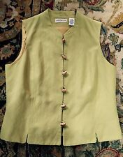 Vintage Linen Top Ann Taylor Halter Green Sz S Bamboo Toggles Far East