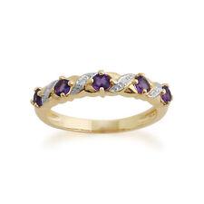 Gemondo 9ct Yellow Gold 0.40ct Amethyst & Diamond Half Eternity Ring