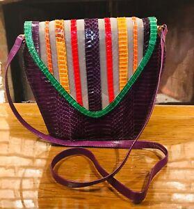 VTG J. Renee totally 80's over the shoulder multi color purple purse