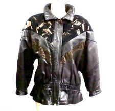 VTG 80s Leather Biker Jacket Cosa Nova Women Huge Shoulders  M Black Suede/Gold
