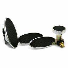 Oval Floor Mount Gas Pedal, Lg Oval Brake/Clutch/Dimmer Pad   Chromed Billet