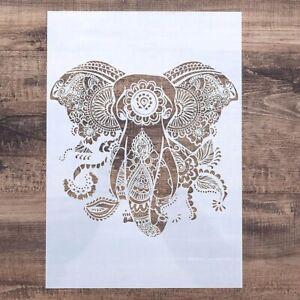 A4 Mehndi Henna Mandala Elephant Plastic Stencil Reusable Mylar Flexible Paint