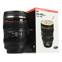 Camera Lens Cup Coffee Travel Mug Thermos Stainless Steel Leak-Proof Lid USA