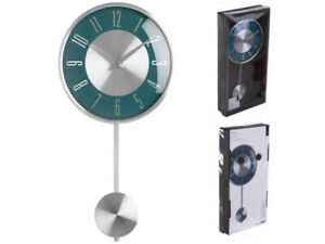 PENDULUM CLOCK WALL MOUNTED CHROME EFFECT SILVER NUMERICAL DIGITS ANALOGUE DISPL
