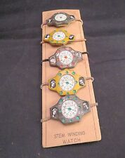 1950s Lot of 5 Occupied Japan Toy Movie Star Stem Winding Watch On Original Card