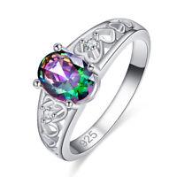 Fashion Gifts Oval Cut Rainbow & White Topaz Gemstone Silver Ring Size 67 8 9 10