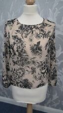 Biege and Black Floral 3/4 sleeve Sheer Blouse from NewLook size 8