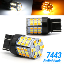 New 7443 LED Turn Signal Switchback DRL Parking Light Bulbs 57-SMD White/Amber