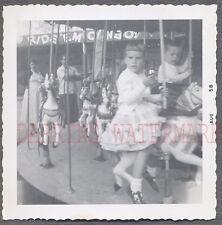 Vintage 1958 Photo Cute Girl Riding Carousel Horse 697393