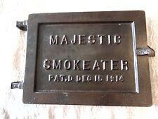 "ANTIQUE CAST IRON vtg Antique FURNACE DOOR ""SMOKEATER"" STEAM PUNK SALVAGE"
