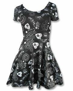 LIQUORBRAND OUIJA Occult Alternative Rockabilly Goth Emo Derby Mini SKATER DRESS