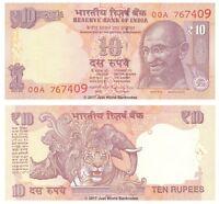 India 10 Rupees 2016 New Telescopic Serial  P-102j Banknotes  UNC