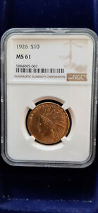 USA   1926   P   Indian   Head   Gold   $   10   Eagle   NGC   MS   61   TOP