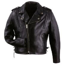 NEW Mens Leather Motorcycle Vented Jacket Gun Pocket Sport Casual Black MEDIUM