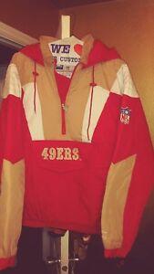 Vintage San Francisco 49ers Throwback Pullover Starter Jacket Large New! NFL
