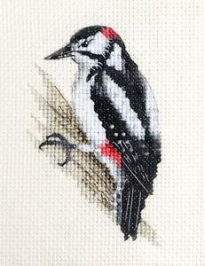 GREAT SPOTTED WOODPECKER, Bird  *Full counted cross stitch kit  *Fido Studio