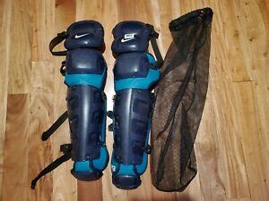 "New Nike Vapor Baseball Softball Catcher  Navy Leg Shin Guards  17"" PBP445"