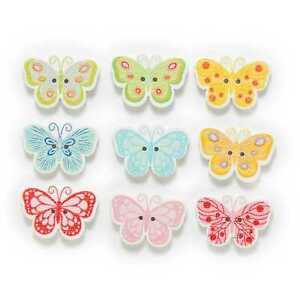 30pcs Butterfly Shape Wood Buttons Sewing Clothing Scrapbook Crafts Decor 25mm