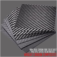 Real 2mm 100% Carbon Fibre Sheet 100x100x2mm Resin Infused UK