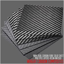Real 3mm 100% Carbon Fibre Sheet 100x100x3mm Resin Infused UK