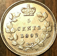 1892 CANADA SILVER 5 CENTS COIN - Fantastic example!