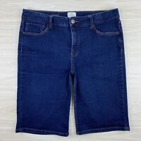 St Johns Bay Womens Size 16 Dark Wash Denim Stretch Bermuda Blue Jean Shorts
