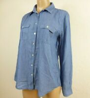 Ann Taylor LOFT The Softened Shirt M Blue Chambray Button Pocket Top Long Sleeve
