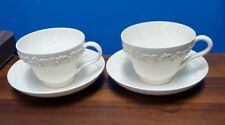 Wedgwood England Queensware cream color on cream Plain smooth 2 cups and saucers