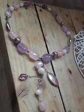 Sterling Silver Rose Quartz & Amethyst Gemstone Necklace