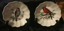 Set of 2 Ceramic Japanese Collector Dishes Bird Cardinal Design