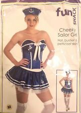 Used Ladies Fancy Dress Costume Cheeky Sailor Basque with Petticoat Skirt & Hat