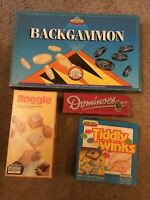 Vintage Games ~Backgammon ~ Tiddlywinks, Boggle & Colour Dominoes 100% Complete